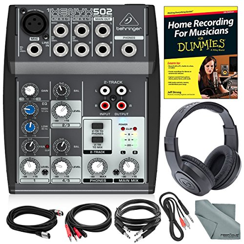 Behringer XENYX 502 5-Channel Audio Mixer and Platinum Bundle w/Stereo Headphones, Home Recording for Musicians for Dummies, 5X Cables, and Fibertique Cloth by Photo Savings