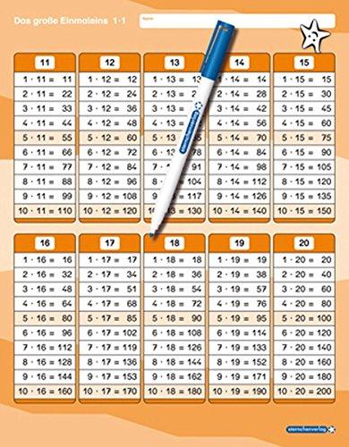 Das große Einmaleins mit Stift: stabile Tafel im großen Format, trocken abwischbar ohne zu schmieren und ohne Farbrückstände