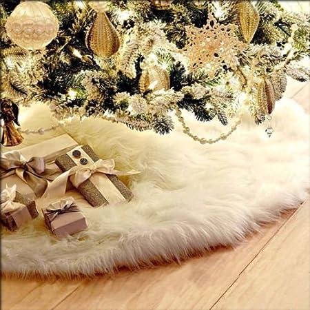 Gulin Falda de árbol de Pelusa Larga Blanca de Navidad, Árbol de ...