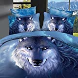 Ammybeddings 4 Piece Blue King Duvet Cover with 1 Sheet and 2 Pillow Shams,3D Wolf Print Bedding Sets,Twin/Full/Queen,Blue,100% Cotton,Luxury Stylish Soft Bedroom Decor Duvet Cover Set