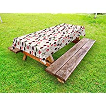 Lunarable Cherry Outdoor Tablecloth, Summer Fruit Pattern Flowers and Butterflies Nature Composition with Fauna and Flora, Decorative Washable Picnic Table Cloth, 58 X 84 Inches, Multicolor