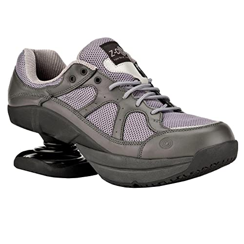 1794bf2bcf3 Z-CoiL Pain Relief Footwear Men's Liberty Slip Resistant Gray Leather  Tennis Shoe