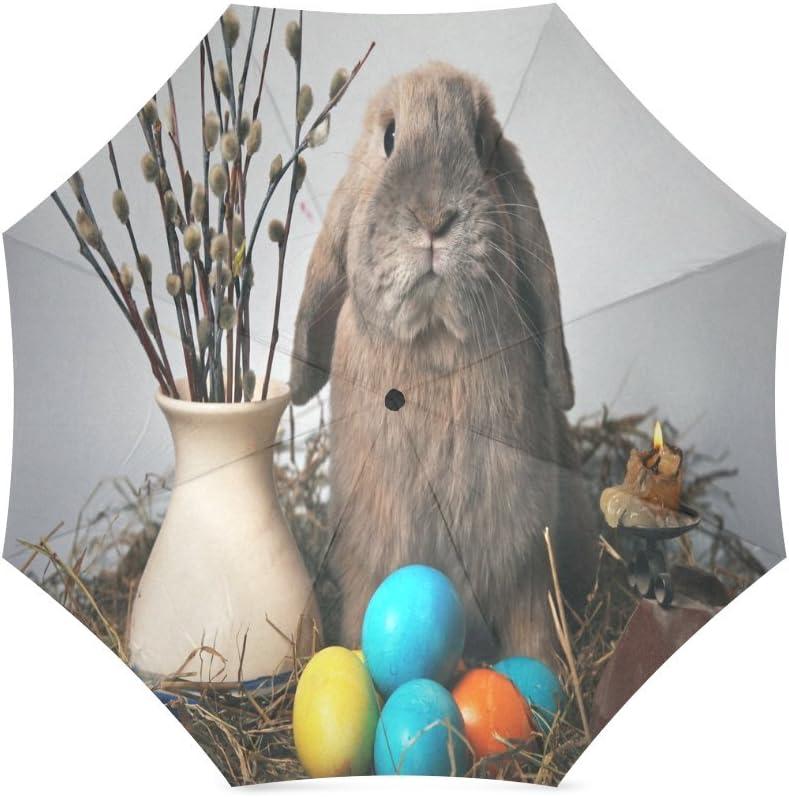 Custom Cute Rabbit and Easter eggs Compact Travel Windproof Rainproof Foldable Umbrella