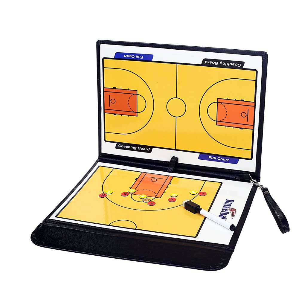 TANCHEN Basketball Football Coaching Board Foldable Strategy Teaching Clipboard with Dry Erase and Marker Pen Tactics Kit