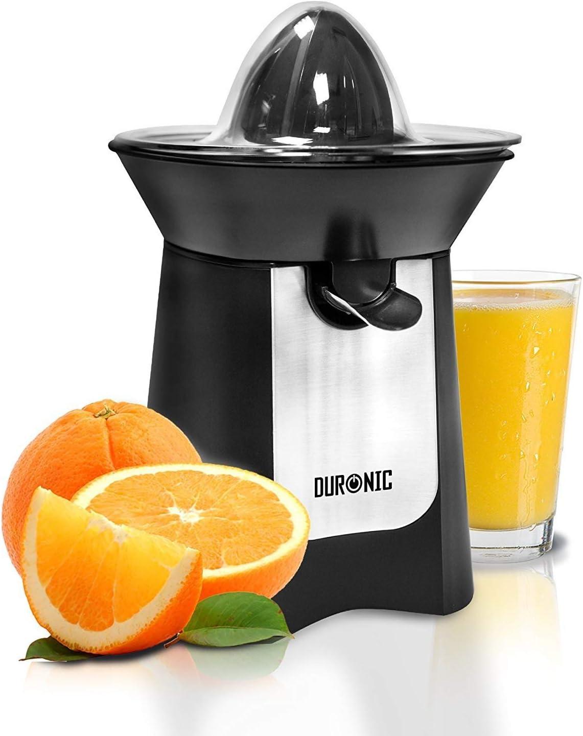 Id/éal pour jus dagrumes tels que les oranges et citrons Bec verseur Presse-agrume /électrique compact en inox de 100W Reconditionn/é Duronic JE6 //BK 2 C/ônes interchangeables