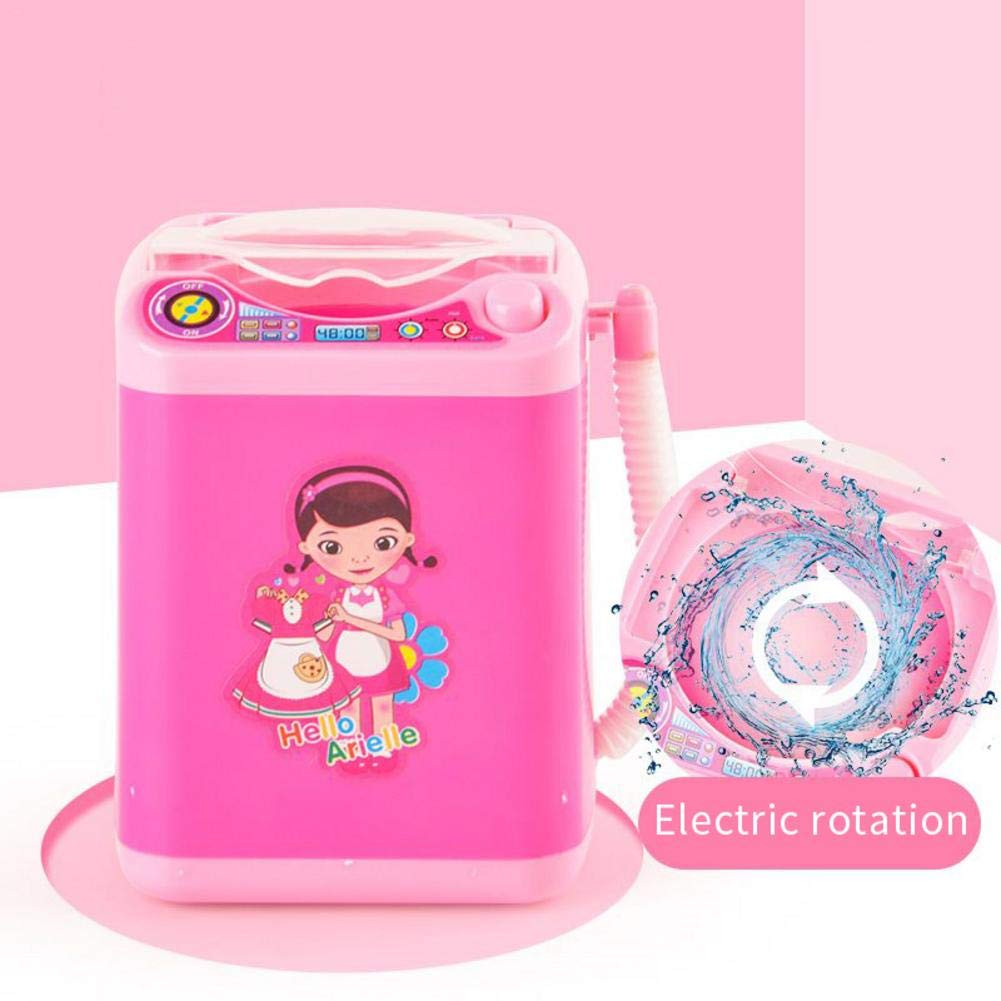 Kids Mini Washing Machine Toy Electric Childrens Pretend Play Toy Dollhouse Furniture Decor Tiny Automatic Makeup Brush Cleaner