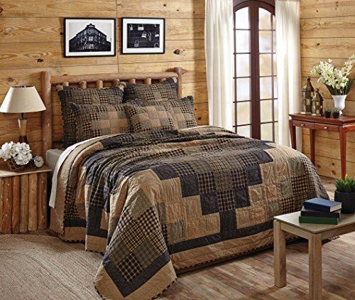 VHC Brands Classic Country Primitive Bedding - Coal Creek Black Quilt, Queen