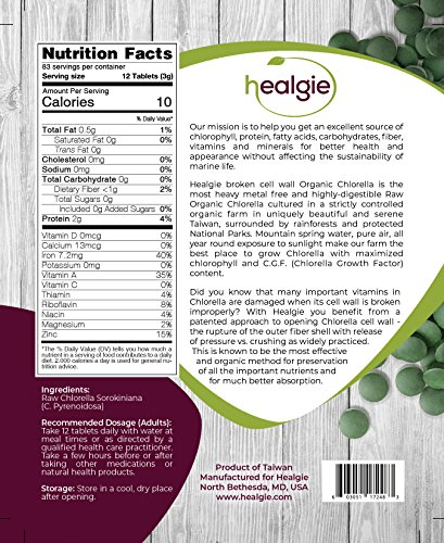 Chlorella Tablets USDA Organic Raw (1000) - Patented Broken Cell Wall Pressure Treatment vs Crushing - Vegan, Highly Digestible Pure Green Algae Best for Chlorophyll, Protein, Heavy Metal Detox by HEALGIE (Image #6)