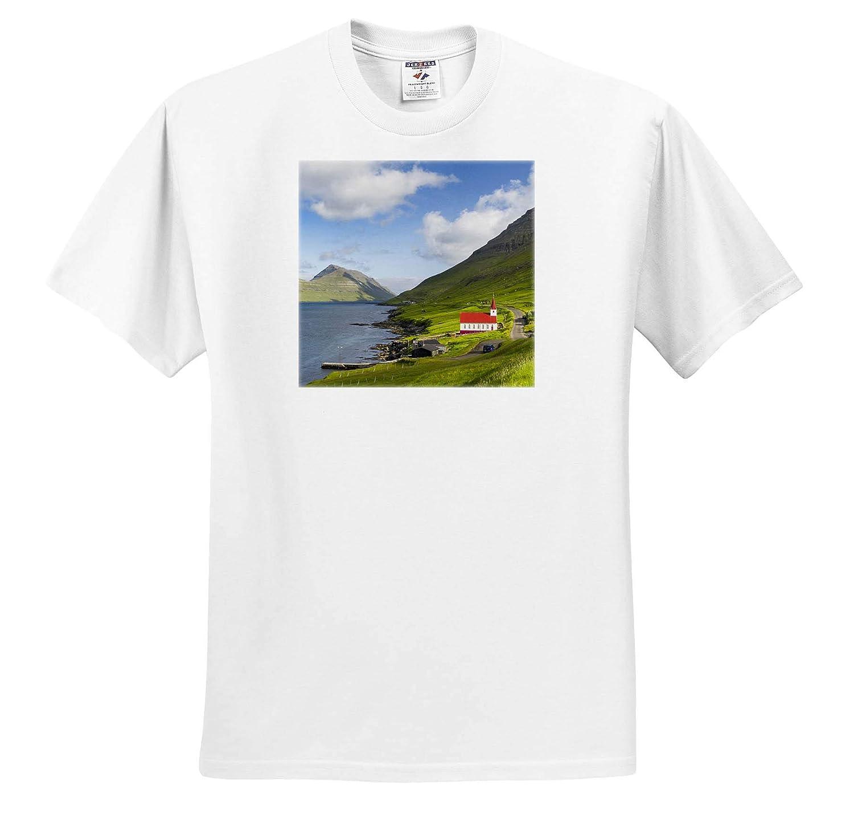 Denmark Church in Village HUSAr on Kalsoy Adult T-Shirt XL Denmark 3dRose Danita Delimont Faroe Islands ts/_313102