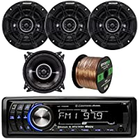 Lightning Audio LA1500BT MP3 Bluetooth Stereo Receiver Player Bundle Combo With 4x Kicker DSC44 4 Inch 120 Watt 2-Way Black Coaxial Speakers + Enrock 50 Foot 16 Guage Speaker Wire