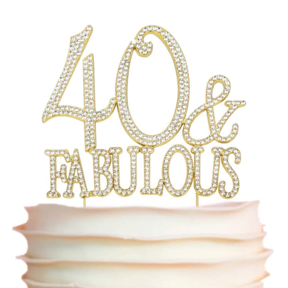 40 and Fabulous Rhinestone Cake Topper | Premium Sparkly Crystal Diamond Bling Gems | 40th Birthday Party Decoration Ideas | Quality Metal Alloy | Perfect Keepsake (40&Fabulous Gold)