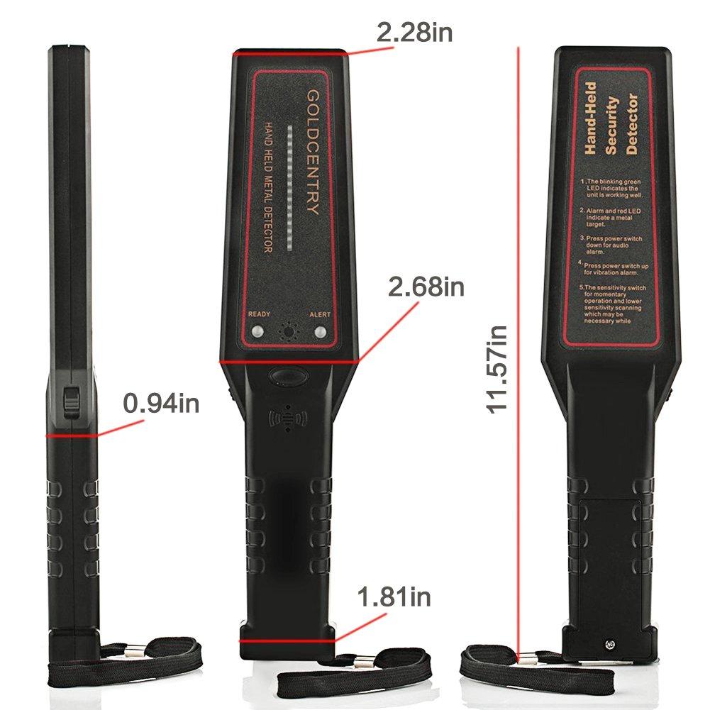 Seguridad Detector de metales de mano ajustable Sensibilidad Super varita escáner con 16 luces LED para aeropuerto, Puerto Abierto, frontera, ...