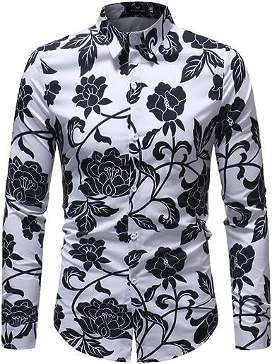 BESBOMIG Camisas Hawaianas Manga Larga Funny Aloha Flores - Slim Fit Negocio Playa Verano Unisex Funky Camisa Hawaiana L-5XL: Amazon.es: Ropa y accesorios
