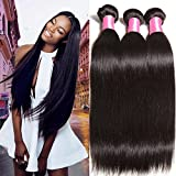 Beauty Forever Hair Brazilian Virgin Straight Hair Weave 4 Bundles 100% Unprocessed Human Hair Extensions Natural Color Can Be Dyed and Bleached (20 22 24 26) For Sale