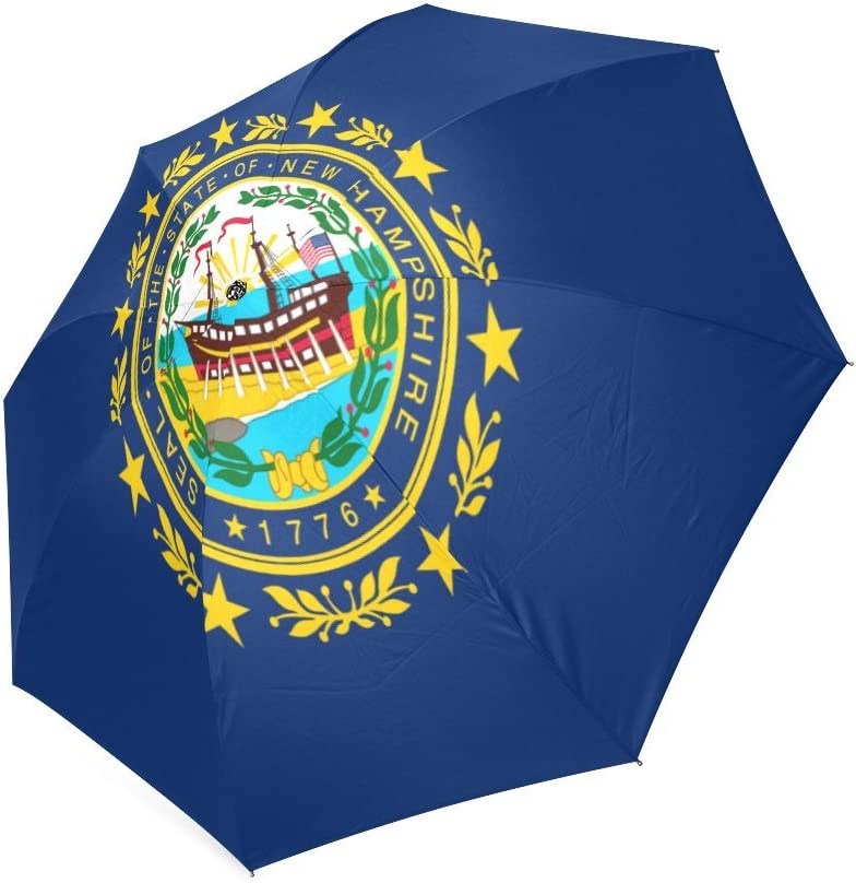 Custom New Hampshire State Flag Compact Travel Windproof Rainproof Foldable Umbrella