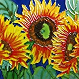 Continental Art Center BD-0177 8 by 8-Inch Three Sunflowers with Blue Background Ceramic Art Tile