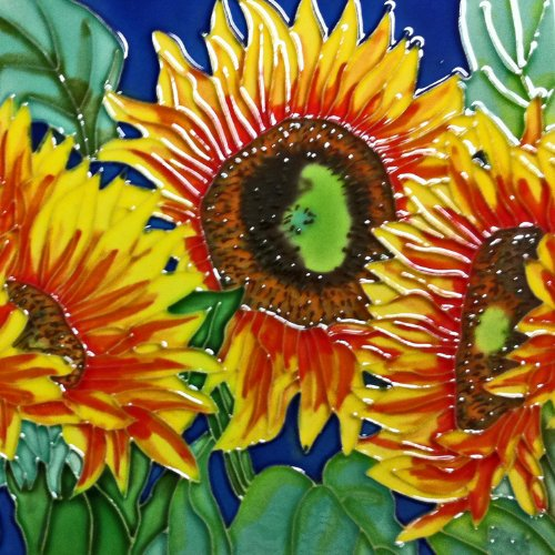 Continental Art Center BD-0177 8 by 8-Inch Three Sunflowers with Blue Background Ceramic Art Tile by Continental Art Center