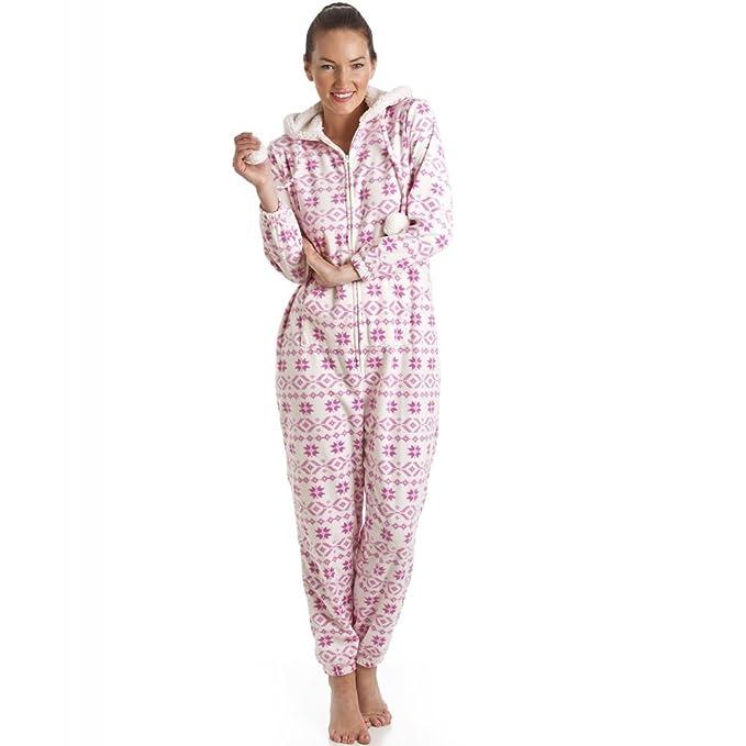 Camille - Pijama de una pieza con capucha para mujer - Forro polar - Estampado azteca