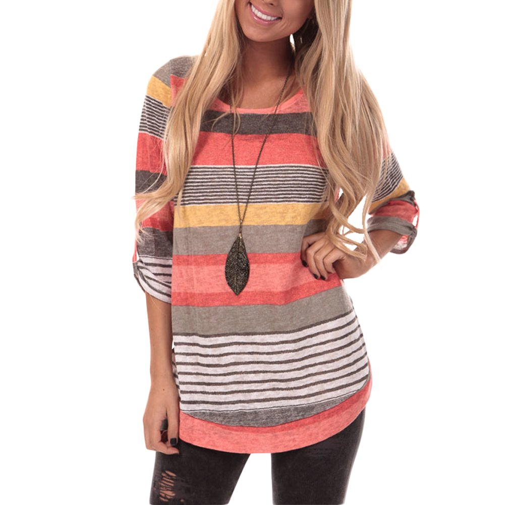 HUHHRRY Womens Striped Sweatshirt Tunic Tops Long Sleeve Casual Crew Neck T Shirt Top Blouse, Orange Color Striped, Large