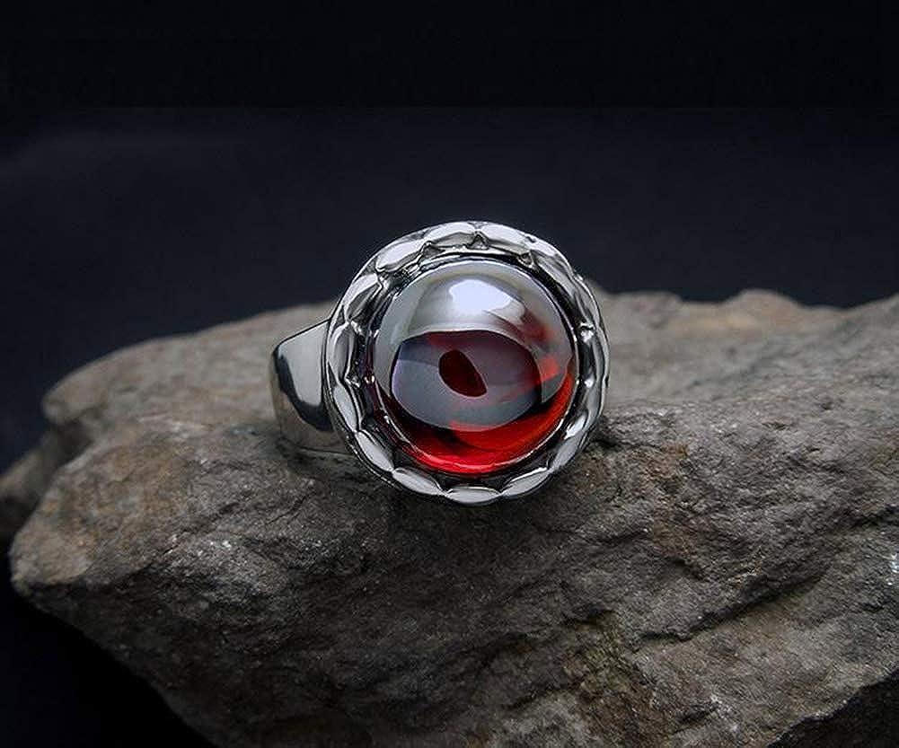 PAMTIER Unisex Stainless Steel Vintage Fashion Blue Sandstone Garnet Ring Gemstone Round Cut