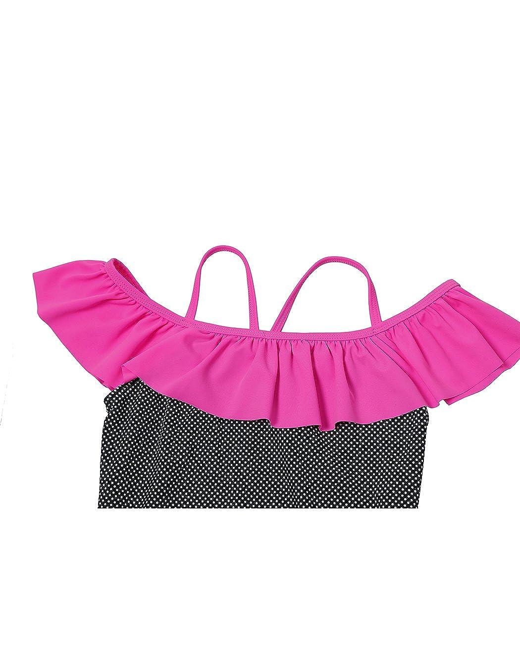 iDrawl Girls Ruffle Swimwear Bathing Suit Sun Protection Swimsuit One Piece UPF 50