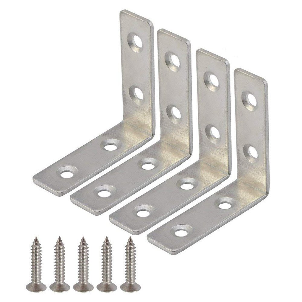 Mellewell 12 PCS 90 Degree Right Corner Brackets Corner Brace Joint Angle Bracket with 48 Screws, 4 x 4 cm, CB8025D-12
