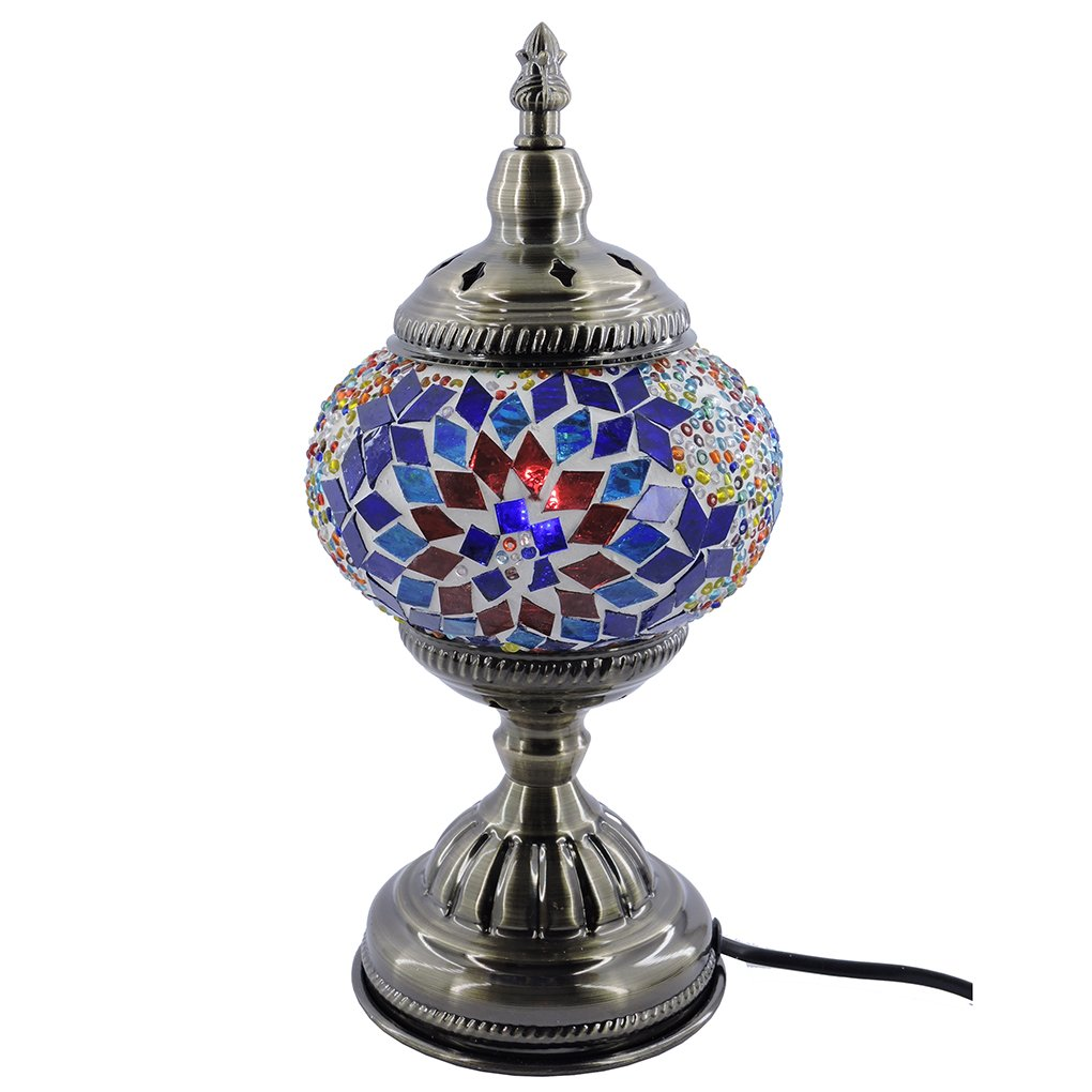 (シルバーフィーバー) SILVERFEVER手作りモザイクトルコランプ - モロッコガラス - テーブル/デスク/ベッドサイド用照明-ブロンズベース マルチカラー M1001 B06WVFR6CB 29211 Floral Burst Floral Burst