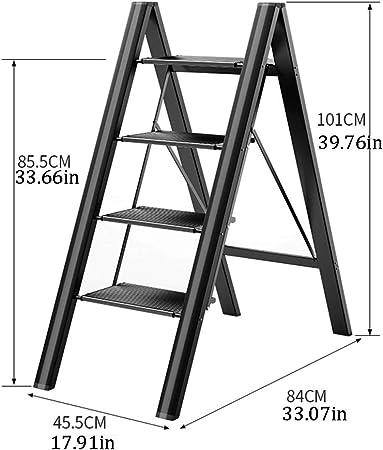 SJASD Escalera Plegable Robusto 4 peldaños y Taburete Plegable 3 Peldaños en Aluminio de Tijera Plegable,Black4: Amazon.es: Hogar
