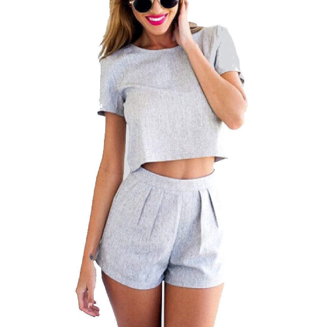 YUNY Womens Pure 2pcs Set Crop Fashion Sweatshirt Pants Set Grey XXS