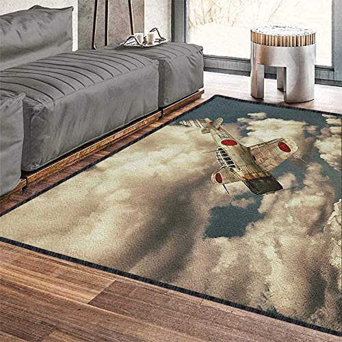- Airplane Printed Carpet,Old School Plane Flying Between Clouds Model Aviation Traveling Illustration Carpet for Children Home Decorate Cream Blue Red 79
