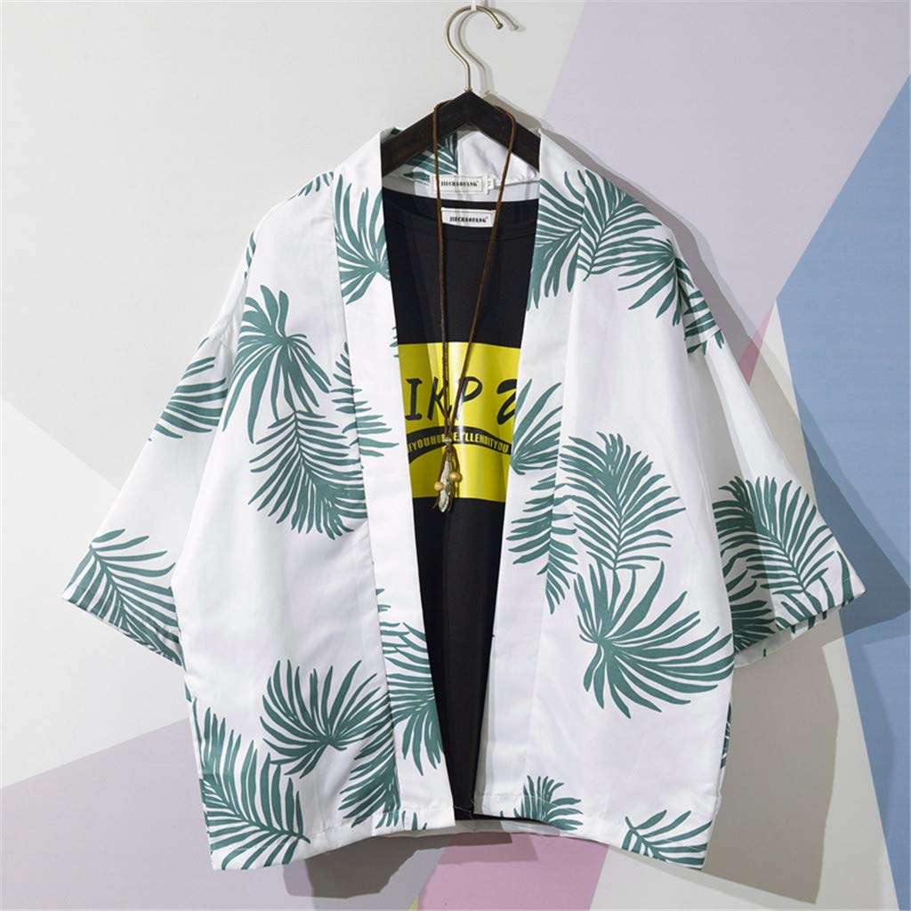 Cool1980s Mens Summer Leaf Print Shirts Casual Printing Hawaii Style Beach Shirts Long-Sleeve Top Blouse