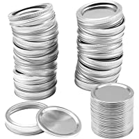 10 tapas de enlatado y bandas de enlatado de boca ancha (86 mm) para tapas de enlatado Mason Jar para almacenamiento a…