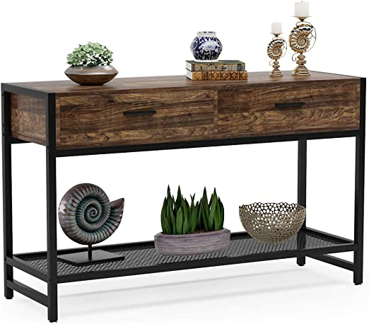 Rustic Entry Table TV Stand for Home Tribesigns Console Table with 2 Drawers