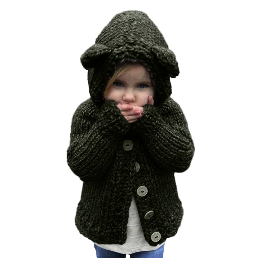Toddler Little Girls Sweater Hooded Knit Pullovers Cardigan Warm Coat Clothes (1Years, Army Green)