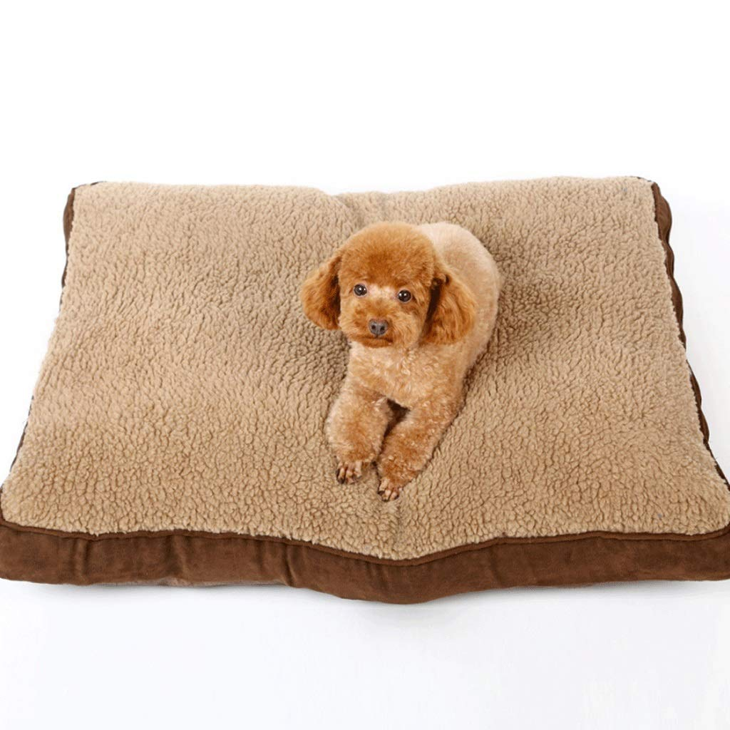 BROWN M (75X60X11CM) BROWN M (75X60X11CM) Zcx Brown Square Thick Lamb Hair Removable And Washable Winter Warm Pet Mat Large Medium And Small Dog Mat (color   BROWN, Size   M (75X60X11CM))