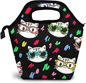 Cute Baby Cats Lunch Bag Insulated Cooler Lunch Box, Black Background Reusable Tote Outdoor Travel Picnic Bags For Snacks Organizer For Women Men Office Work