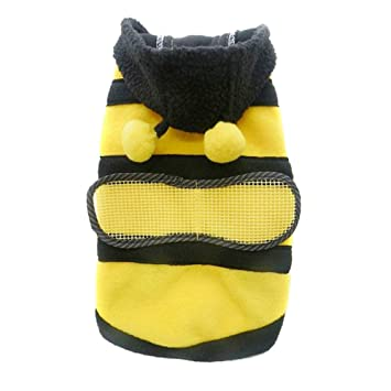 6252a2f71b36 Tutuba Cute Bee Design Pet Dog Fleece Jacket Cat Clothes Puppy ...