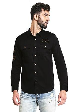 d079d2c22209 Guess Men's Long Sleeve Cypress M81 Button Down Shirt at Amazon Men's  Clothing store: