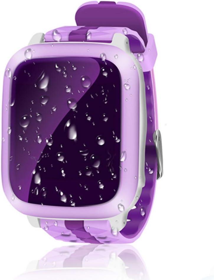 Reloj inteligente para niños con rastreador GPS, resistente al agua, reloj inteligente para niños y niñas, ideal como regalo para iOS y Android, morado