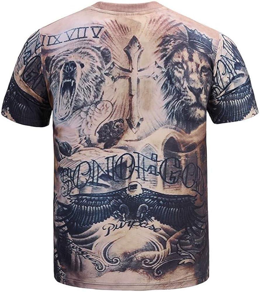 Novedad para Hombres/Mujeres Camiseta Informal Moda Animal 3D Tatuaje Impresión Digital Cuello Redondo Manga Corta: Amazon.es: Ropa y accesorios
