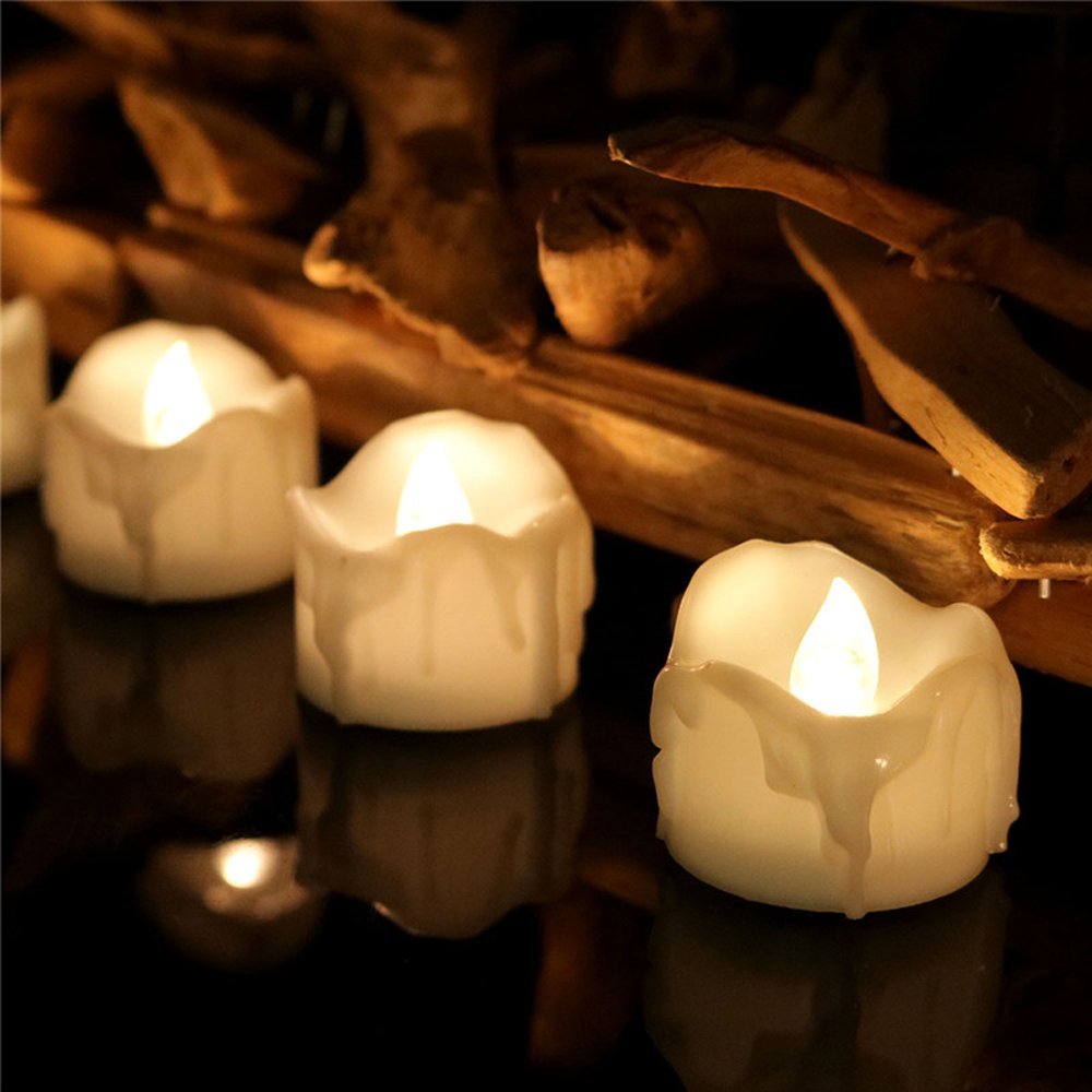 192 Pack, Flicker Timer Candle(6 Hours On 18 Hours Off Cycle) Small Electric Timed Flameless Unscented Fake Artificial Decorative Tear Drop Shape Votive Battery Tealight For Christmas New Year, 6012T by HaiCoo