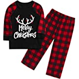 FengGa Christmas Family Clothes Pajamas Set Sleepwear Print Blouse Tops and Pants Xmas Lounge Nightgowns