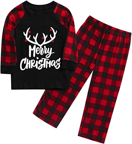 3PC Toddler Baby Boy Girl Christmas Santa Plaid Print Pajamas Sleepwear Outfit L