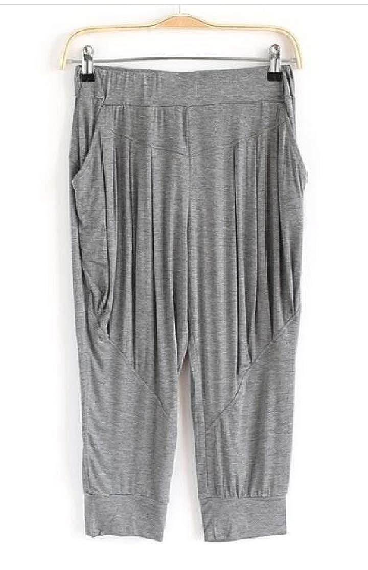 Hurrg Womens Casual Dance Yoga Plus Size Relaxed Fit Capri Harem Modal Shorts