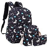 School Backpack Girls Cute Bookbag fit 15inch Laptop SchoolBag for Teens Boys Kids Travel Daypack(Unicorn-Black)