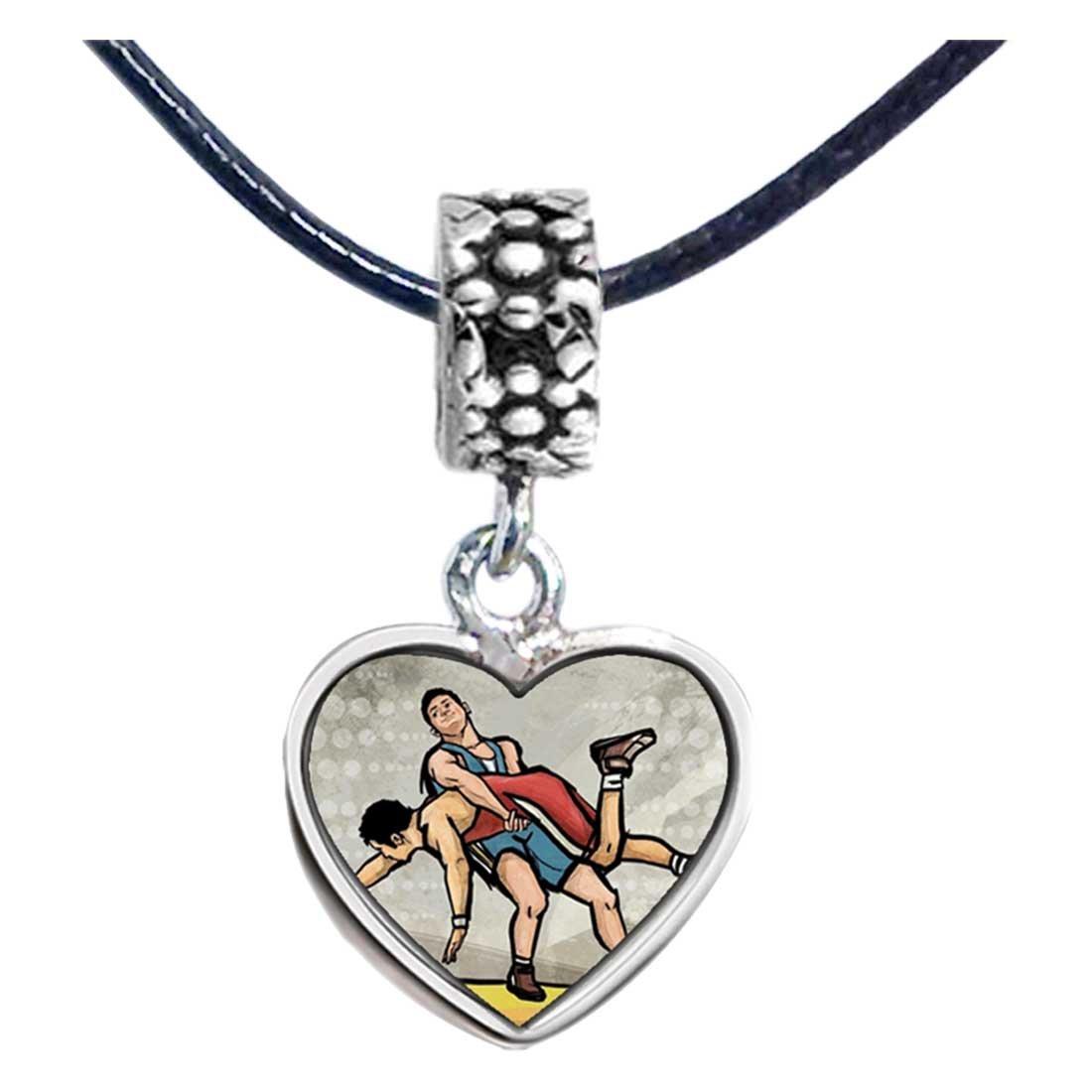 GiftJewelryShop Silver Plated Olympics Wrestling Photo Flower Head Dangle Heart Bead Charm Bracelets