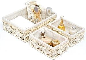 DUOER Macrame Storage Basket Boho Decor Baskets for Organizing Woven Decorative Basket for Countertop Bathroom Storage Basket Set Shelf Basket with Handle for Bathroom Bedroom Nursery Livingroom Entryway (Set of 3)