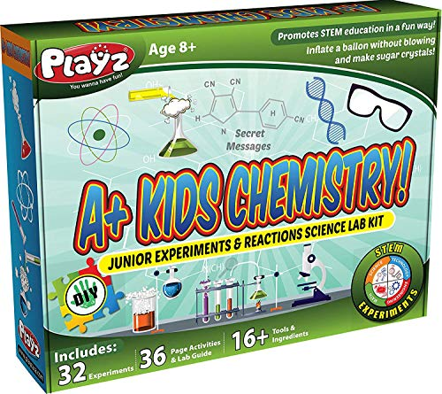 Playz STEM A+ Kids Chemistry Junior Experiments & Reactions Science Lab Kit - 32+ Experiments, 36 Page Laboratory Guide, and 27+ Tools & Ingredients for Boys, Girls, Teenagers, & Kids (Best Chemistry Kits For Kids)