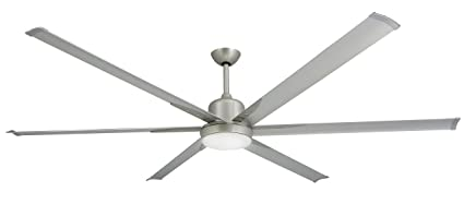 TroposAir Titan Brushed Nickel Large Industrial Ceiling Fan With DC Motor,  84u0026quot; Extruded