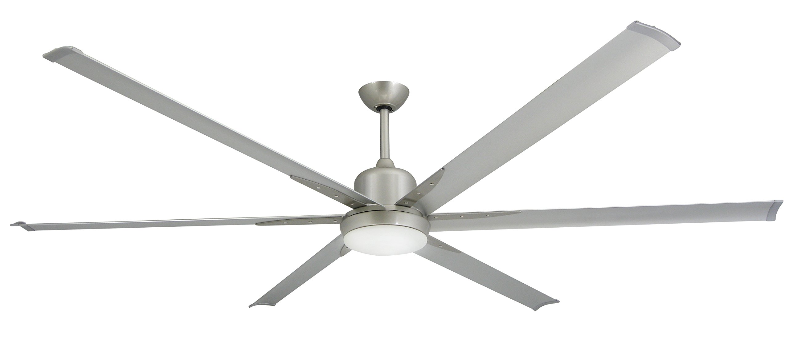 TroposAir Titan Brushed Nickel Large Industrial Ceiling Fan with DC-Motor, 84'' Extruded Aluminum Blades, Integrated Light and Remote